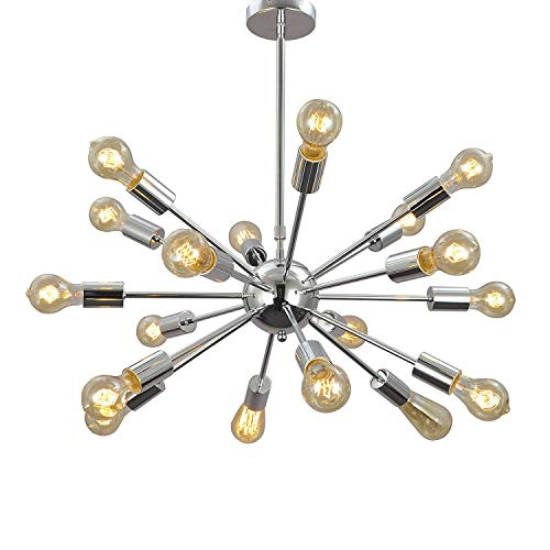 Aero Snail 1621S-18 Silver Vintage Retro Industrial Theme Metal Large Pendant Hanging Light Ceiling Lamp Chandelier 18…