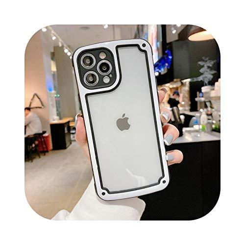 Carcasa transparente a prueba de golpes para iPhone 12 11 Pro Max X Xs MAX XR 7 8 Plus de protección de la cámara de color caramelo de la cubierta de la funda-para iPhone 11Pro Max