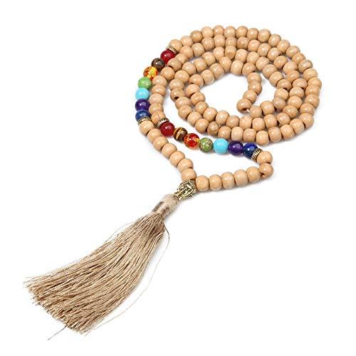 LHZUS 8mm Bead de Madera 7 Chakra Buda Cabeza Colgante Collar Collar de Borla Yoga meditación Coche Encanto Amuleto Afortunado Collar