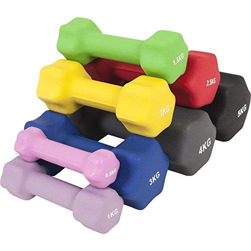 GORILLA SPORTS® Kurzhantel-Set Neopren 1-10 kg für Gymnastik, Aerobic, Pilates Fitness – 2er-Set 4 kg - 2 x 2 kg