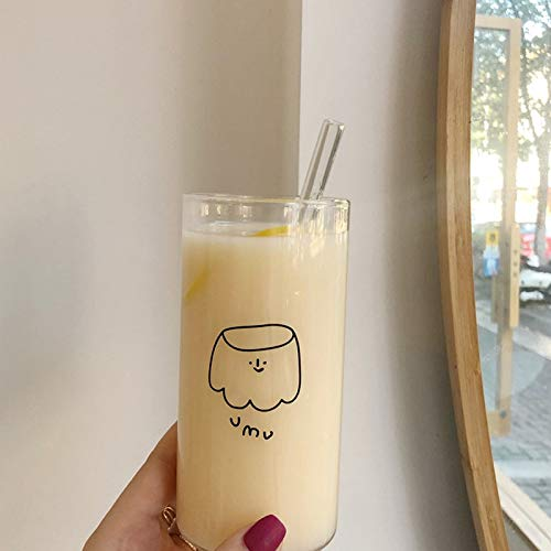 NUCA Ins Korean Style Cartoon Glass Cup with Straw transparente Coffee Milk Tea Mug Kawaii Water Cups Children Drink Bottle