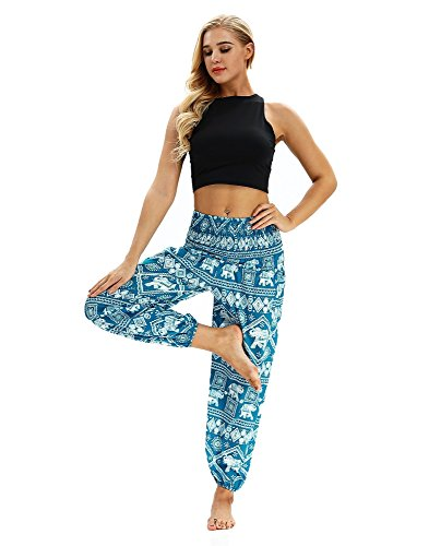 URVIP Damen's Hochwertige Mode Gedruckte Hosen Geräupfte Taile Harem Hippie Boho Yoga Palazzo Casual Sporthose Fitnesshose Workout Stretch Leggings Bloomers One Size YCI-038
