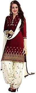 58c0ae465a PlatinumCreation Women's Cotton Semi-stitched Maroon Salwar Suit | Panjabi Dress  material Free size