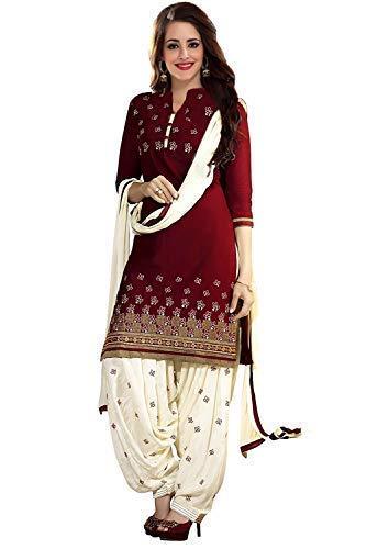 Platinum Women's Cotton Salwar Suit (PLT 1001 Maroon_Maroon_Free Size)