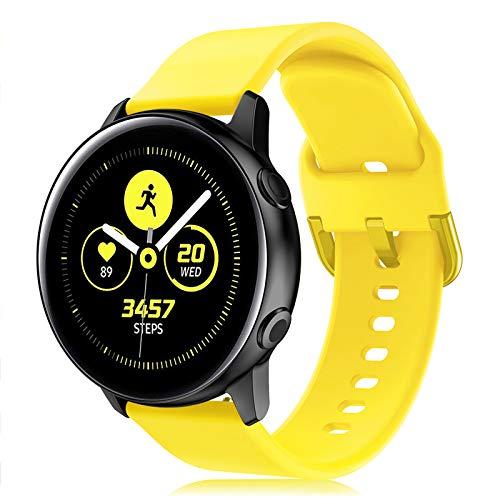 Onedream Correa Compatible con Samsung Galaxy Watch Active/Active 2 44mm 40mm Pulsera Silicona Mujer Hombre, Repuesto Compatible con Samsung Galaxy Watch 42mm/ Galaxy Watch 3 41mm Amarillo