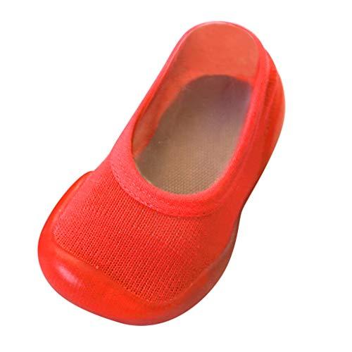 YWLINK Zapatos De NiñO ReciéN Nacido Bebé NiñA NiñO Calcetines De Color Liso Zapatillas con Suela De Goma Calzado De Casa CóModo Y Suave Zapatos De Primer Paso para NiñOs De Ocio(Naranja,22/23EU)