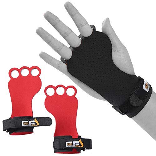 CRAZYFOXS Calleras para Crossfit - Grips 3H Microfibra – Guantes de Gimnasio para Protección de Manos - Diseño 2020 Ergonómico Hombre y Mujer - Gym Fitness Halterofilia - Rojo y Negro (M)