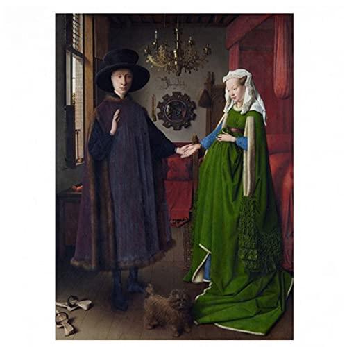Pintura famosa Van Eyck Arnolfini Cuadro de retrato de boda Pintura en lienzo Arte de la pared Dormitorio Regalo decorativo Impresión HD en lienzo 60x80 cm x1 Sin marco