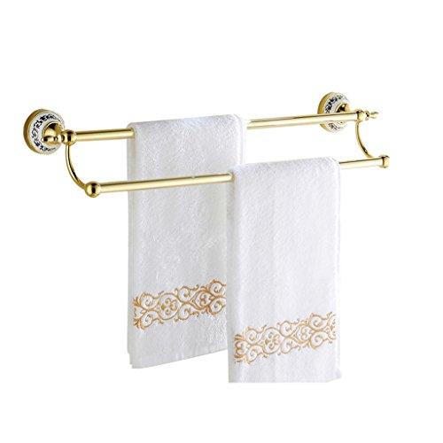 ZHDWM - Toallero Europeo Doble toallero para baño con Colgante, Accesorio para el hogar, Hotel, baño, Accesorios, 40/50/60/70/80/90 cm, Dorado, 80 cm