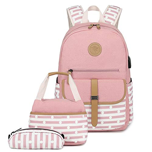 Zokrintz Fashion Backpack for Women Laptop Backpack Girls Cute Bookbags for School with Lunch Bag and Pencil Case