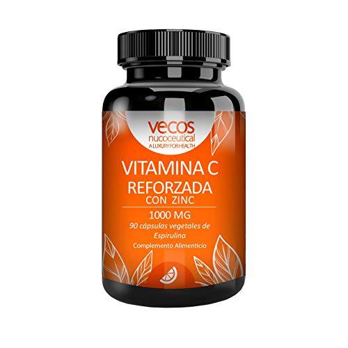 Vitamina C 1000 Mg con zinc para reforzar el sistema inmunológico – Antioxidante natural para proteger nuestro organismo contra los radicales libres – cápsulas vegetales espirulina aptas veganos (90)
