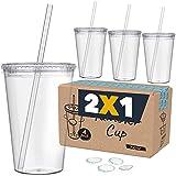 Vasos de Plástico Duro con Tapa y Pajita - Libre de BPA - Incluye Pegatinas Reutilizables y eBook de Coctelería - Set de 4 Vasos plasticos reutilizables de 700 ml - Marfrand (Transparente)