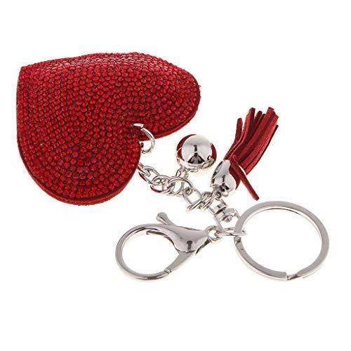 Colcolo Llavero Colgante Bolso Llavero Corazón Diamante Encanto Joyas Decorar - Rojo, Individual