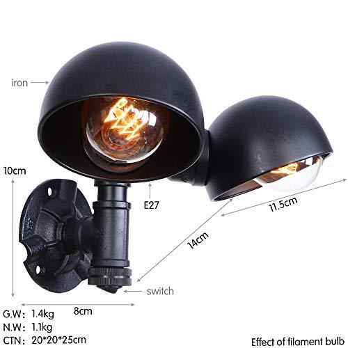 Retro-wandlamp, vintage wandlamp van ijzeren buis met LED, vintage Edison-wandlampen, hanglampen met dubbele ophanging.