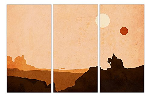 Tatooine Star Wars Desert World 3 Panel Gerahmter Leinwand Prints Movie Bilder Film Poster Wall Art, canvas holz, 5- 3 X 40