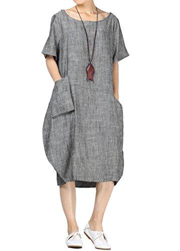 Mallimoda Damen Leinenkleider Sommerkleid Kurzarm Große Größen Leinen Tunika Kleid mit Taschen Schwarz L