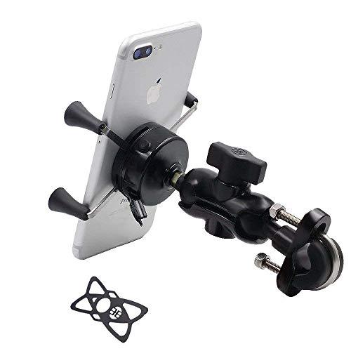 Fiets & Motorfiets Telefoon Mount, Bike Mobiele Telefoon houder voor Stuur & Achteruitkijkspiegel, 360 Graden Rotatie Universeel Verstelbaar met Siliconen Band Fit voor iPhone X/8/7s/7,Samsung S8/S7/S5