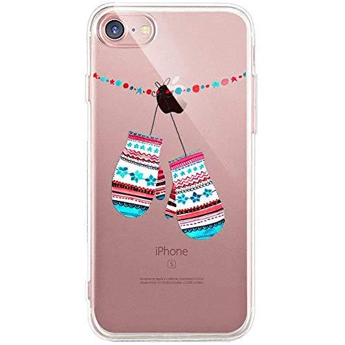 Kompatibel mit Handytasche iPhone SE/iPhone 5S Weihnachten Hülle Clear Case Ultra Dünn Durchsichtige Silikon Kirstall Transparent Handy Hülle Bumper Cover Schutz Tasche Schale,Schnee Handschuh
