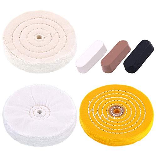 Huante - Juego de 6 ruedas de pulido de 6 pulgadas con algodón (60 plis), amarillo (42 plis) y franela (30 plis) con rueda de árbol de 1/2 pulgadas para las muelas de éTabli.