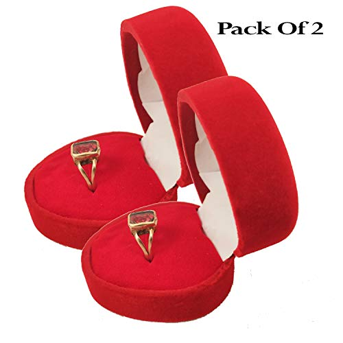 Whopper 2 Piezas Premium Velvet Royal Red Heart Ring
