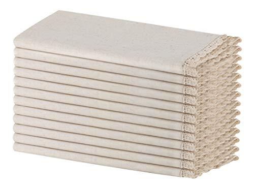 SweetNeedle - Paquete de 12 - Servilletas de mesa de diseño con aspecto de algodón de lino (20% lino y 80% algodón) con encaje de ganchillo 50x50 cm en tela de color natural - Lino de primera calidad