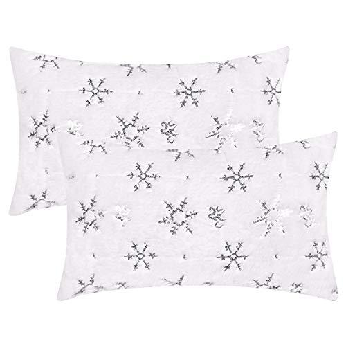 Fascidorm Christmas White Plush Pillow Covers, Snowflakes with Sequins Throw Pillowcase, Xmas Decorative Throw Pillow Covers, White