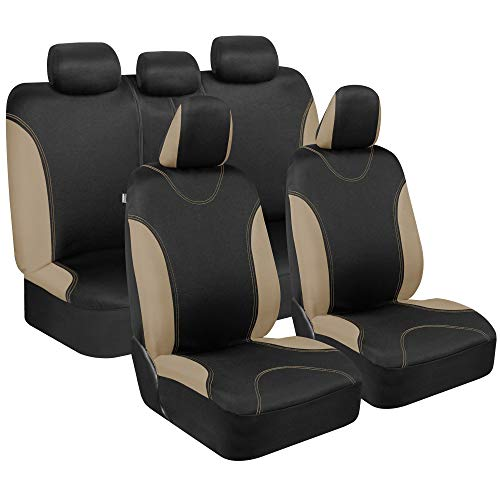 BDK Beige Trim Black Car Seat Covers Full 9pc Set - Sleek & Stylish - Split Option Bench 5 Headrests Front & Rear Bench - OS-334-BG_amj