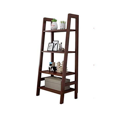 YLCJ boekenkast van rubber hout 4 niveaus ladder rek rek display houder staander (kleur: hout kleur, grootte: 60 * 38 * 140 cm)