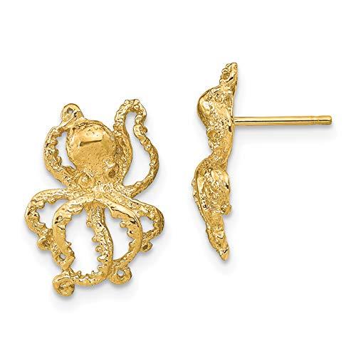 14k Yellow Gold 2-D Octopus Post Earrings
