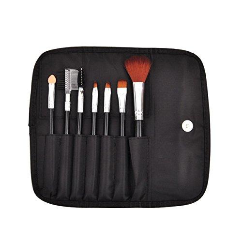Pinceaux De Maquillage Set 7Pcs Brosse De Voyage Définit Des Trousses De Sourcil Professionnel Eyeshadow Avec Pochette,Black