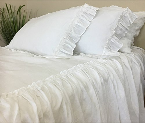 Why Should You Buy White Linen Bedspread with Ruffles on top, Fabulous!