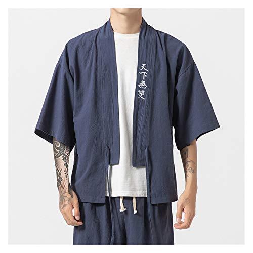 VIAIA Abrigo de crdigan Delgado de Verano de Gran tamao Retro Bordado Hanfu Set China Kimono Robe Traje Hombre 3/4 Sleeve Tang Clothing Chaqueta (Color : Blue Suit, Size : M)