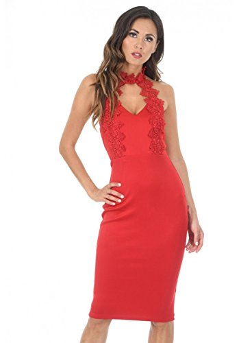 AX Paris Women's Choker Midi Dress(Red, Size:6)