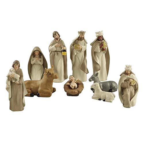 F Fityle Resin Nativity Figurine Set, Set of 10, Christmas Nativity Set Scene Figures Resin Figurines Baby Jesus Sculpture Statue Gifts