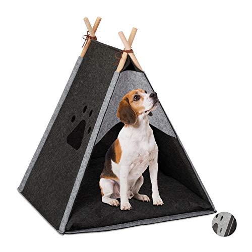 Relaxdays Hundezelt, Haustiertipi für kleine Hunde & Katzen, Filz & Holz, mit Kissen, 70,5 x 59,5 x 59 cm, dunkelgrau, 1 Stück