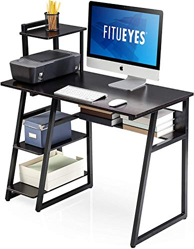 FITUEYES Computer Desk with Storage Shelves,Writing Table with Bookshelf, Workstation Home Office Desk CD210301WB