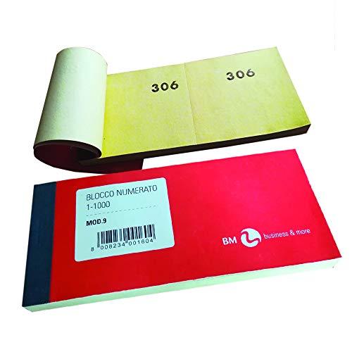 BM BeMore Mod 9, 0100160, 10 Blocchi numerati da 1-1000, Formato 13 cm x 6 cm, Confezione 10 blocchi colorati