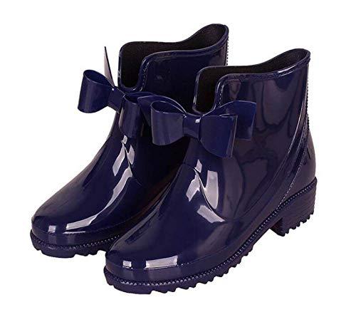 YUXUEKING regenlaarzen, waterdicht massief rubber hak enkellaars,Fashion Women'S Pvc paarse vlinder knoop regenlaarzen, anti-slip slijtvaste waterschoenen