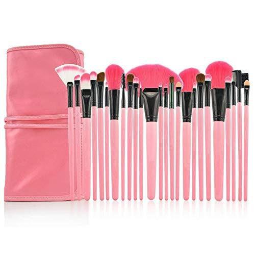 PoplarSun Professionnel Maquillage Pinceaux Cosmétiques Pinceau Vert Poudre Visage avec Un Sac en Cuir Pinceau de Maquillage (Handle Color : 24pcs Pink)