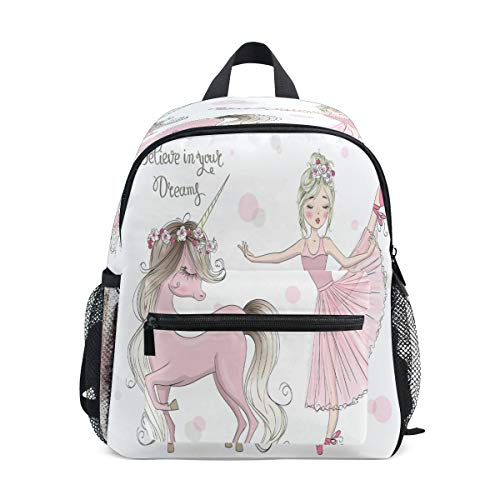 RXYY Kids Backpacks Cute Unicorn Ballet Girl Shoulder Travel Toddler Preschool School Bag Casual Backpack with Chest Strap for Girls Boys