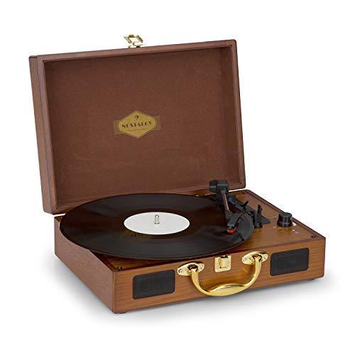 auna Peggy Sue - Plattenspieler, Schallplattenspieler, Riemenantrieb, Stereo-Lautsprecher, USB-Port, Abspielen und Digitalisieren, Lautstärkeregler, transportabler Koffer, braun-Gold