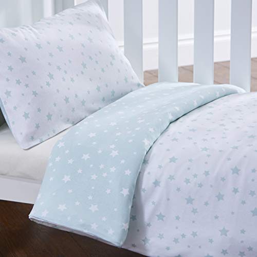Silentnight Safe Nights Cot Bed Duvet Cover & Pillowcase Set - Duck Egg Stars