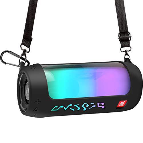 Silikonhülle Tasche - Lautsprecher Box, Lautsprecher Schutzhülle für JBL Pulse 4 Tragbarer Bluetooth-Lautsprecher. Silikon - Tragetasche Lautsprecher Hülle Case mit Schultergurt und Karabiner