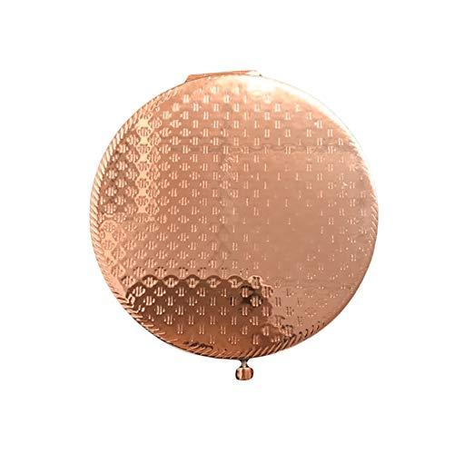 Plushfarm Matte round pocket makeup mirror portable double-sided folding magnifying glass mini retro metal compact makeup mirror double-sided (Color : Rose Gold)