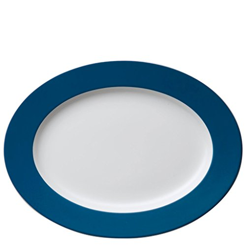 Assiette de Service Thomas Sunny Day, Assiette Large, Plate, Porcelaine, Petrol Blue / Bleu, 33 cm, 12733