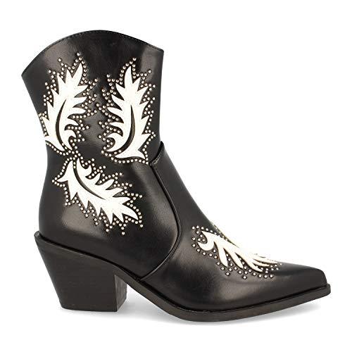 Botin de Mujer Estilo Campero y Cowboy con Tacon, con un Toque de Color Blanco, y Adornos Metalizados Fashion Otono Invierno 2019. Talla 40 Negro