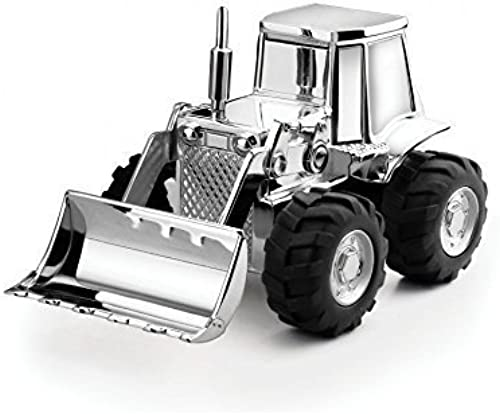 Brillibrum Design Versilberte Spardose Bagger mit Namen Gravur Traktor SparschWeiß Radlader Glänzend anlaufgeschützt Inkl. Wunschgravur