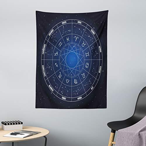 ABAKUHAUS Astrología Tapiz de Pared y Cubrecama Suave, Zodíaco Horóscopo en Forma de Rueda con Fechas en Espacio Lunares Imagen, Objeto Decorativo Lavable, 110 x 150 cm, Azul Oscuro