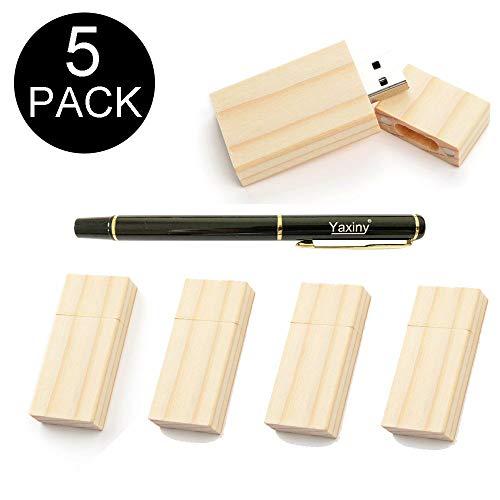 Yaxiny - Confezione da 5 chiavette USB rettangolari in legno 2.0/3.0 con chiavetta USB in legno (3.0/32 GB)