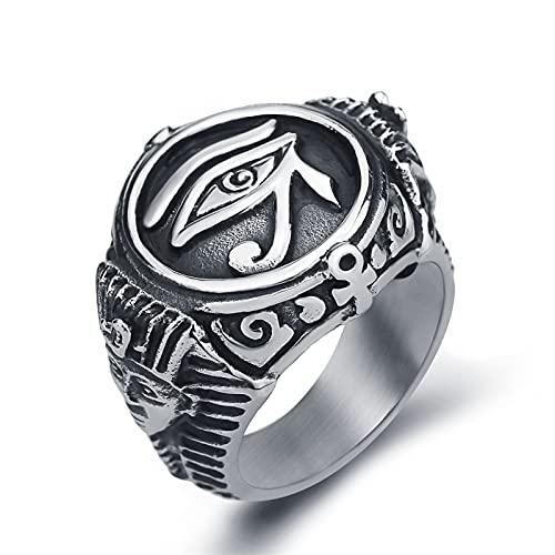 Ring Vikingo Men's Egyptian Faraón Ojo De Horus Anillo Dominio De Los Hombres Anillo De Dominio Creativo Amuleto Bola Regalo Egipcio Faraón El Ojo De Horus Anillo Anillo Dominio De Los Hombres,B,6
